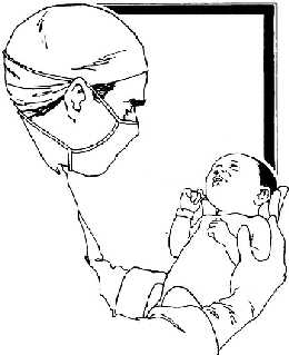 Doctor and newborn